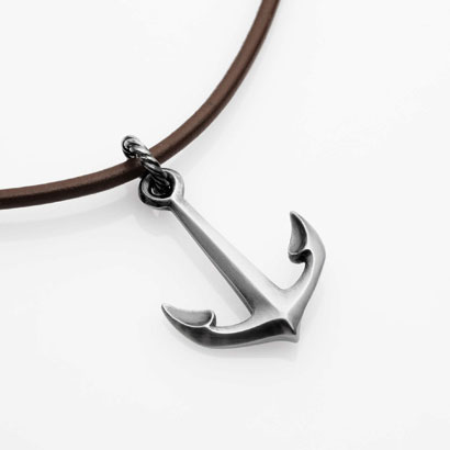 "Silver Anchor necklace o 20"" leather"