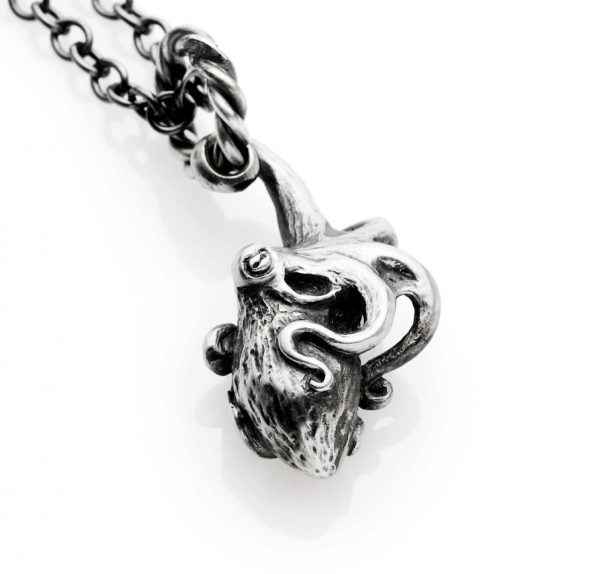 "silver octopus necklace on 20"" chain"