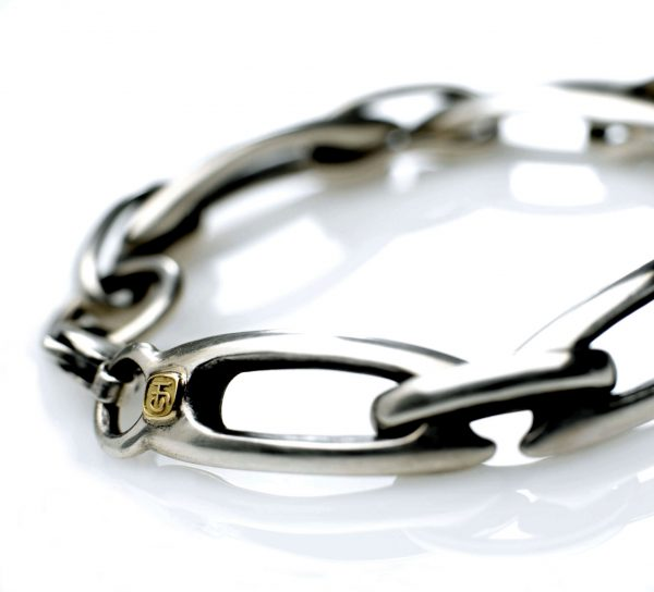 Silver Lozenge bracelet 18ct. makers badge